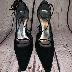Stuart Weitzman black tie dress shoes
